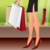 Leg of shopping sexy girl — Stock Vector