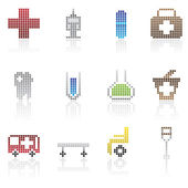 Medical and healtcare Pixel Icons — Stock Vector