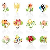 12 abstracte bloemen — Stockvector