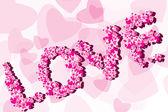 Valentine pozadí titulek láskou — Stock vektor