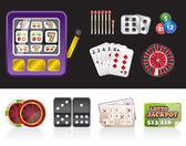 Casino und glücksspiel-werkzeuge-symbole — Stockvektor