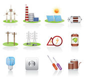 Electricity and power icons — Stock Vector