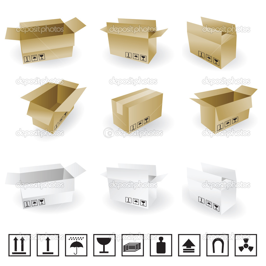 Shipping box vector and Box Icon and Signs — Stock Vector ...