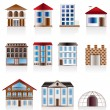 Various variants of houses and buildings — Imagen vectorial