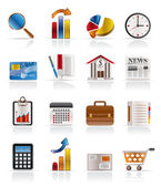 Business and Office Realistic Internet Icons — Stock Vector
