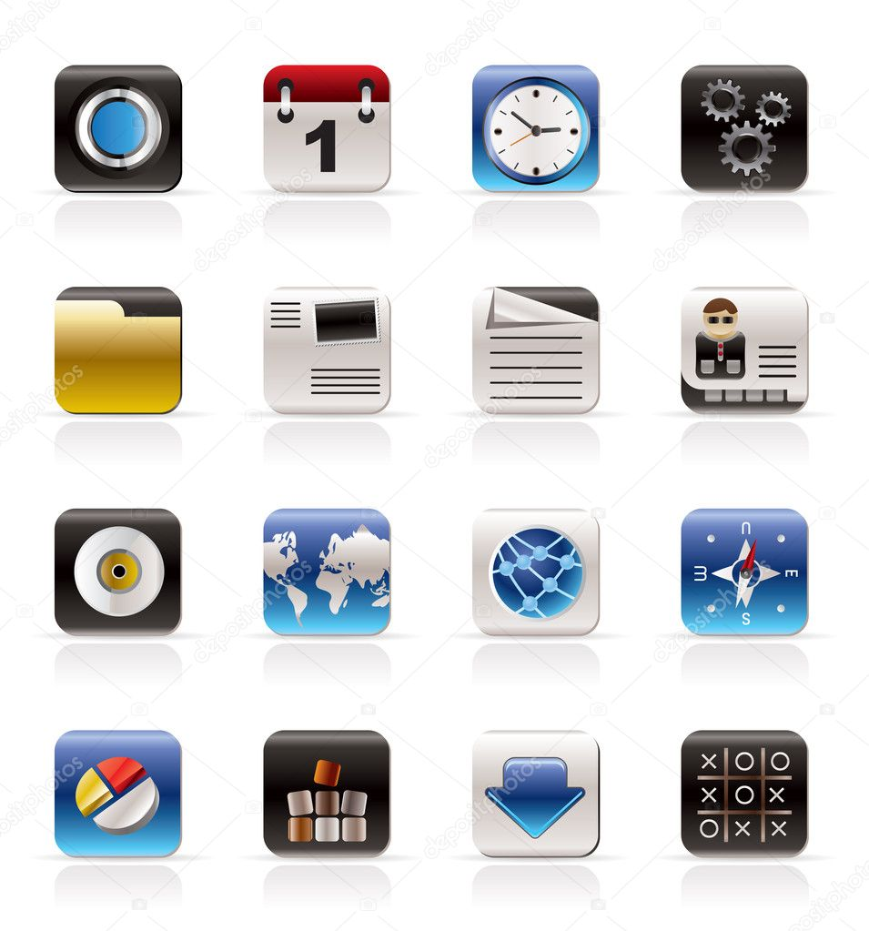 Mobile Phone, Computer and Internet Icons - Vector Icon Set — Stock Vector #4999643