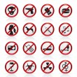 Prohibition Sign and icons  — Stock Vector