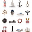 Marine, Sailing and Sea Icons — Stock Vector