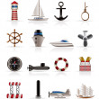 Marine, Sailing and Sea Icons — Stockvectorbeeld