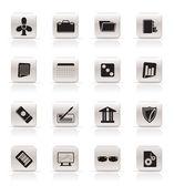 Eenvoudige zakelijke en office-pictogrammen — Stockvector