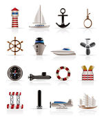 Marine, Sailing and Sea Icons — Stockvektor