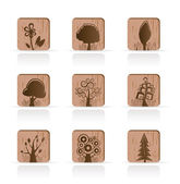 Wooden Tree Collection icons — Stock Vector