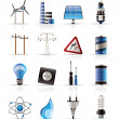 Electricity,  power and energy icons — Stockvectorbeeld