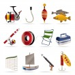 Fishing and holiday icons - Stok Vektör