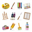 Painter, drawing and painting icons - Stock Vector