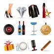 Luxury party and reception icons - Stock Vector