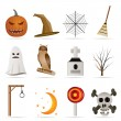 Royalty-Free Stock Vector Image: Halloween icon pack  with bat, pumpkin, witch, ghost, hat