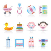 Child, Baby and Baby Online Shop Icons — Stock Vector