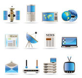 Realistic Communication and Business Icons — Stock Vector