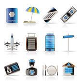 Iconos de viajes, vacaciones y viaje — Vector de stock