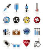 ícones com temas médicos realistas e sinais de aviso — Vetorial Stock