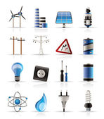 Electricity, power and energy icons — Stock Vector