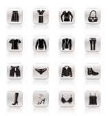 Simple Clothing and Dress Icons — Stock Vector