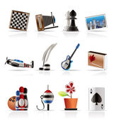 Hobby-, vrijetijds- en vakantie pictogrammen — Stockvector