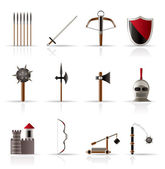 Medieval arms and objects icons — Stock Vector