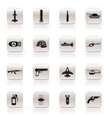 Simple weapon, arms and war icons — Vector de stock