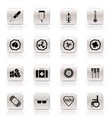 ícones com temas médicos simples e sinais de aviso — Vetorial Stock