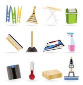 дома объектов и инструментов значки — Cтоковый вектор