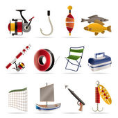 Fishing and holiday icons — Stock Vector