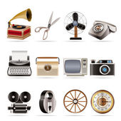 Retro business and office object icons — Stock Vector