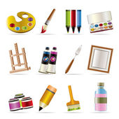 Painter, drawing and painting icons — Stock Vector