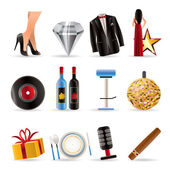 Luxury party and reception icons — Stock Vector