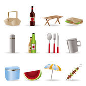 Picnic and holiday icons — Stock Vector