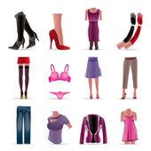 Kadın ve erkek giysileri simgeler — Stok Vektör
