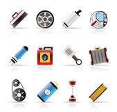 Iconos de realista auto partes y servicios — Vector de stock