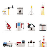 Ikony průmyslu ropy a benzínu — Stock vektor