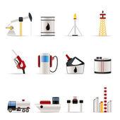 Olie- en benzineprijzen industrie pictogrammen — Stockvector