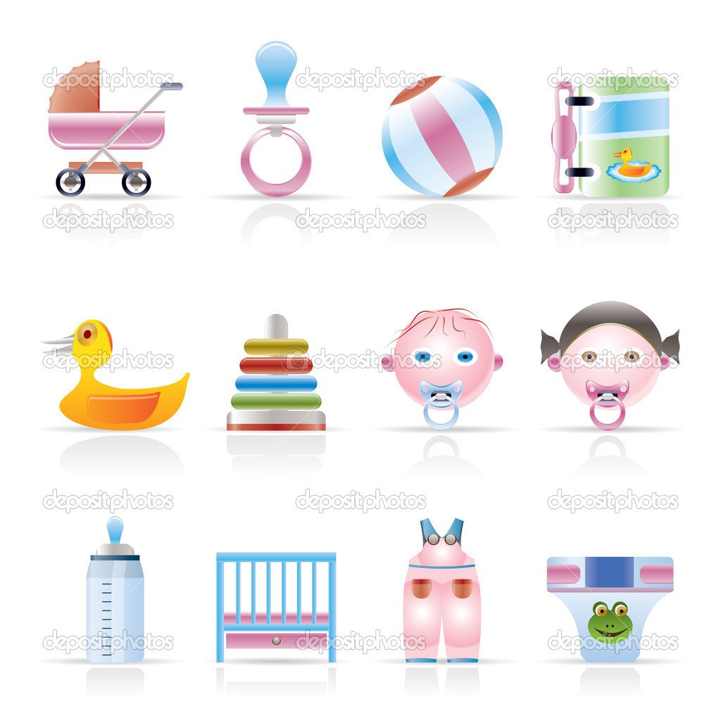 child baby and baby online shop icons stock vector stoyanh 5010537. Black Bedroom Furniture Sets. Home Design Ideas