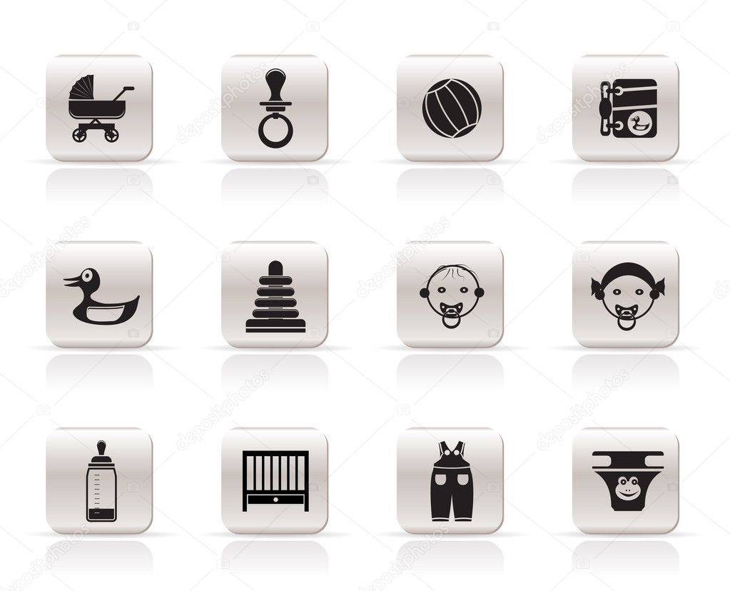 simple child baby and baby online shop icons stock vector stoyanh 5010985. Black Bedroom Furniture Sets. Home Design Ideas