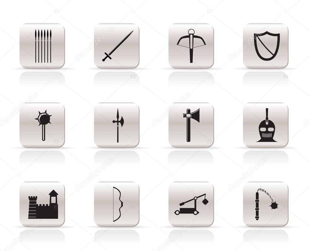Simple medieval arms and objects icons - vector icon set  — Stock Vector #5011006