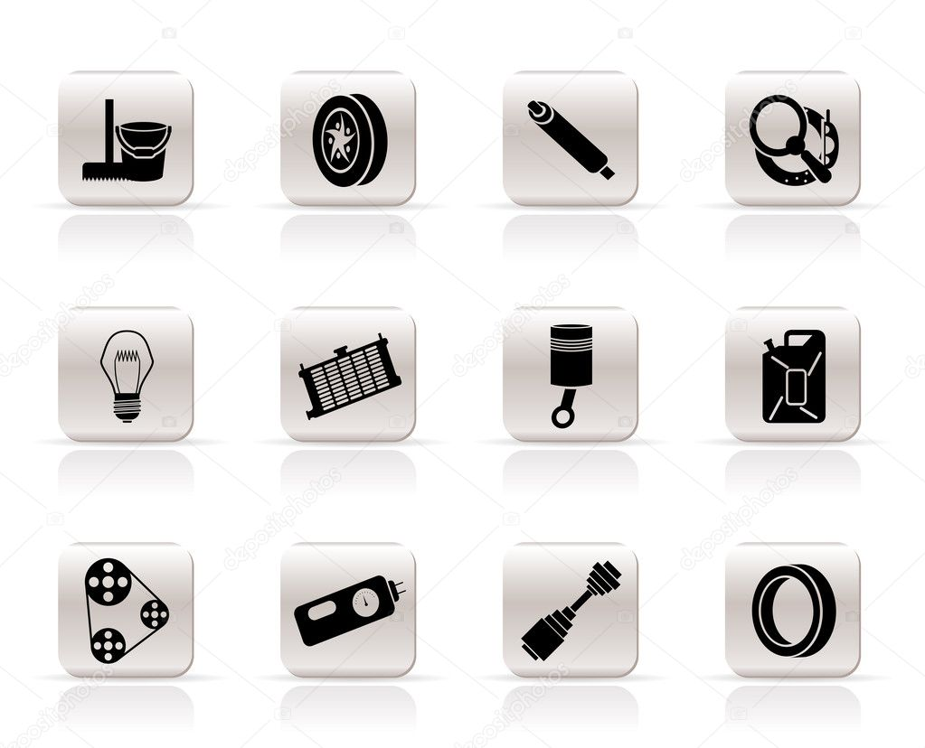 Simple car parts and services icons stock vector for Simple car parts