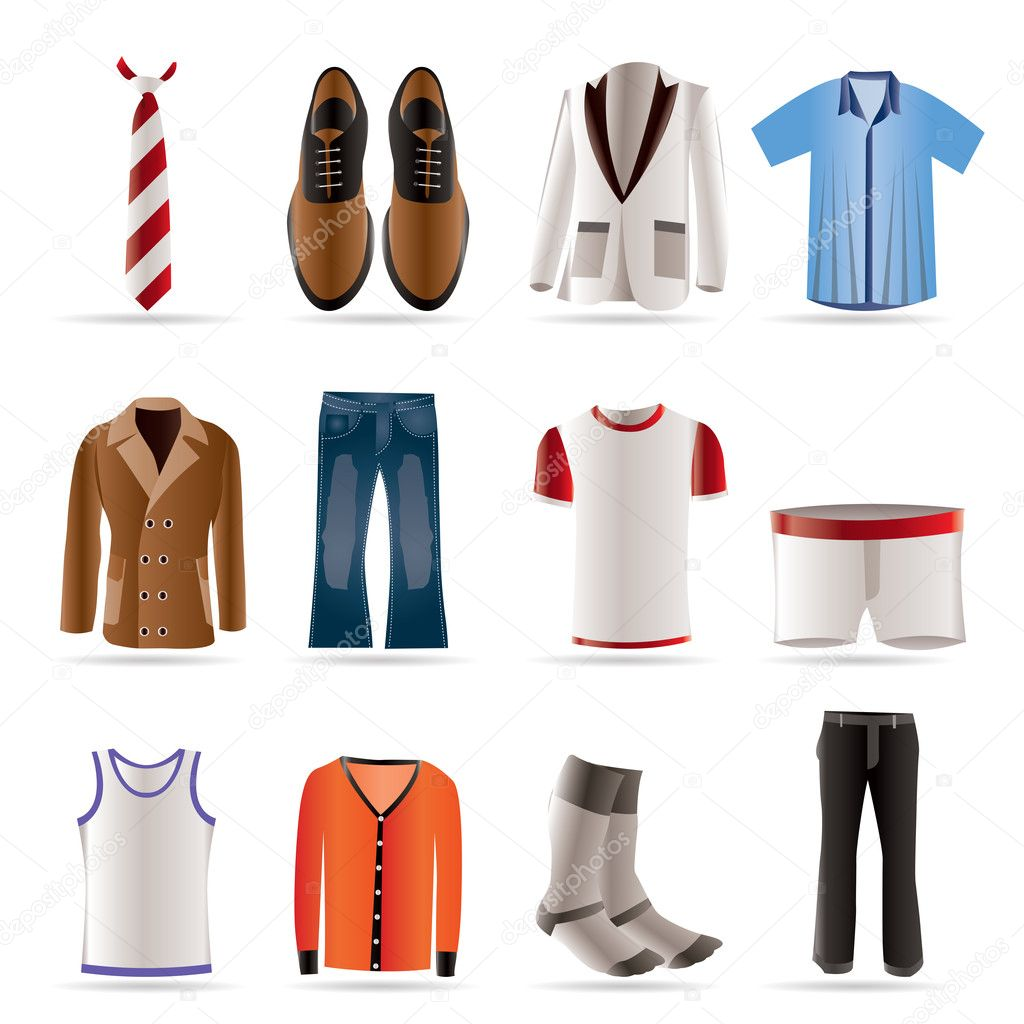 Man fashion and clothes icons - vector icon set — Stock Vector #5012814