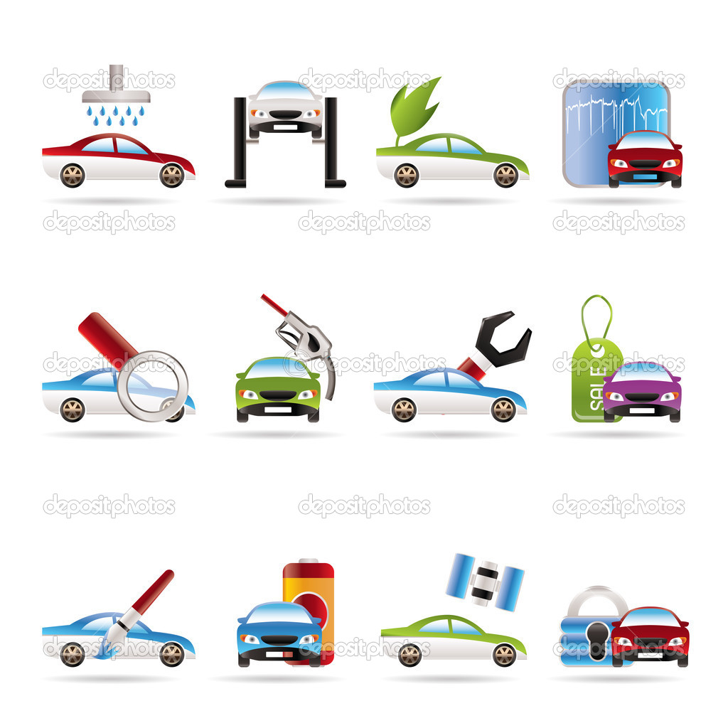 Car and automobile service icon - vector icon set — Stock Vector #5019276