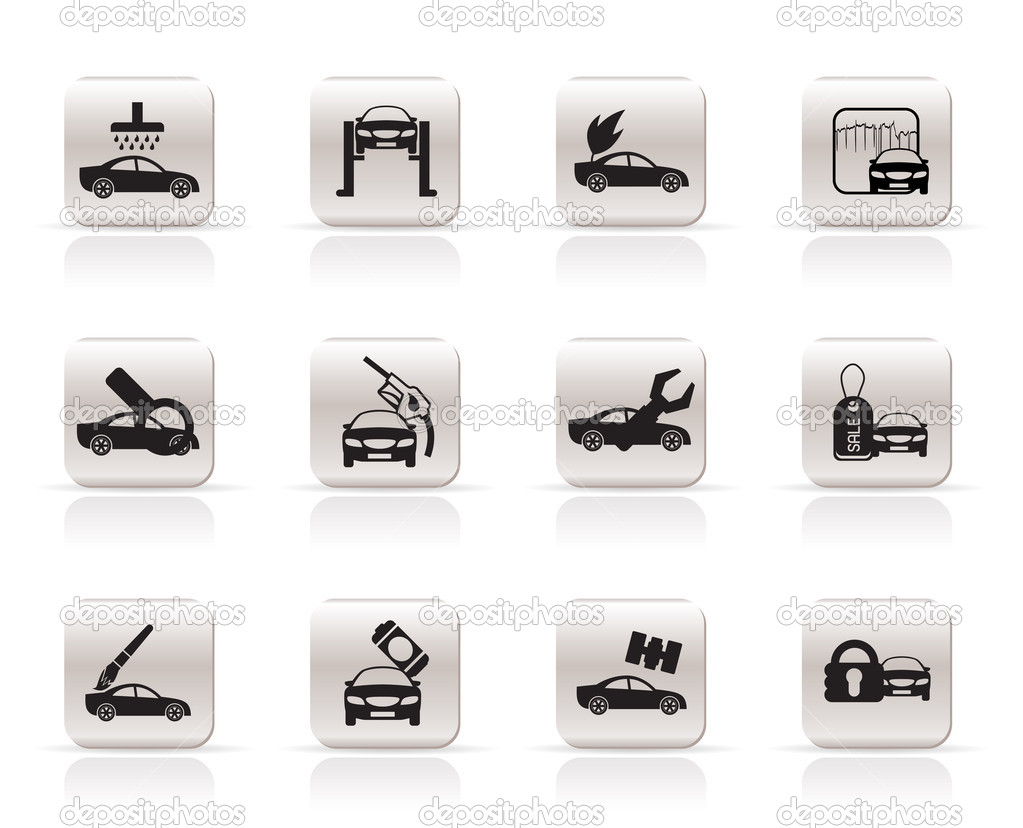Car and automobile service icon - vector icon set  Stock Vector #5019315