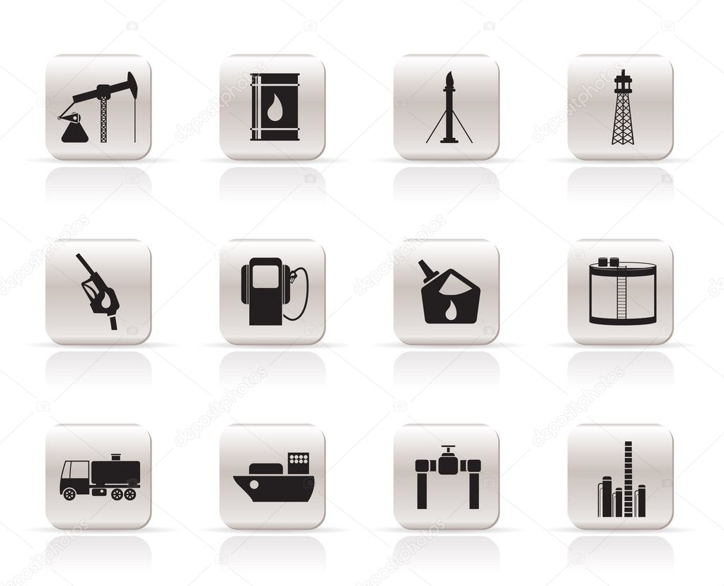 Oil and petrol industry icons - vector icon set — Stock Vector #5019376