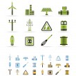 Electricity and power icons - vector icon set   - 3 colors included - Stock Vector